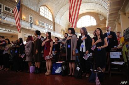 جانب من أحد مراسم أداء قسم الحصول على الجنسية الأميركية- أرشيف