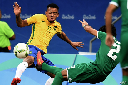 لقطة من مباراة العراق والبرازيل