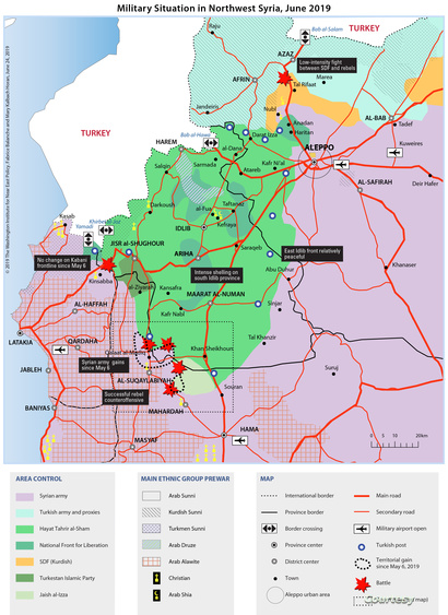 الوضع العسكري في شمال غرب سوريا في يونيو 2019 (المصدر: معهد واشنطن)