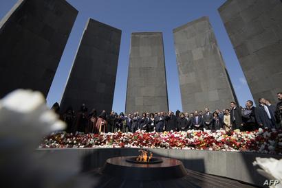 النصب التذكاري لتخليد مذابح الأرمن بالعاصمة الأرمينية يريفان وحضور من جانب زعماء ورؤساء دول - 24 أبريل 2019