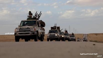 القوات التاعبة للمشير خليفة حفتر في طريقها إلى طرابلس