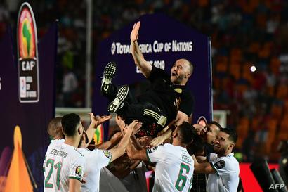 لاعبو المنتخب الجزائري يحملون المدرب جمال بلماضي على أكتافهم احتفاء بالفوز
