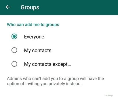 خيارات جديدة في واتساب بخصوص الإضافة للمجموعات