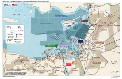 """خريطة رُفِعت عنها السرية من قبل """"مكتب موارد الطاقة"""" التابع لوزارة الخارجية الأميركية تظهر تعقيدات التطورات المتعلقة بالطاقة في شرق البحر المتوسط"""
