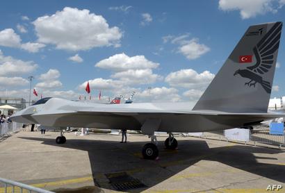 نموذج لمقاتلة مقاتلة TF-X التركية من الجيل الخامس - مطار لبورغي قرب باريس 17 حزيران/يونيو 2019