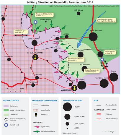 الوضع العسكري على جبهة حماه ـ حلب في يونيو 2019 (المصدر: معهد واشنطن)