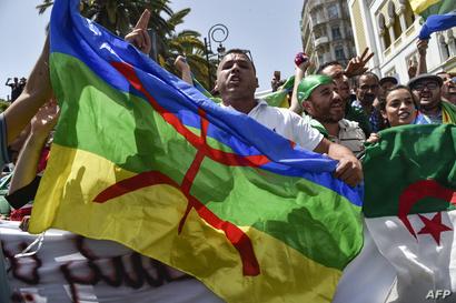 متظاهرون يرفعون العلم الجزائري رفقة الراية الأمازيغية