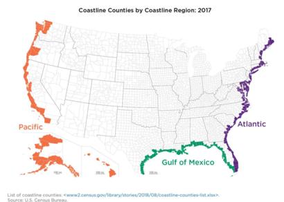 المناطق الساحلية التي يعيش فيها الأميركيين