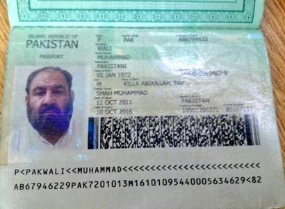 صورة من جواز السفر المزعوم للملا أختر منصور وفق ما تناقلته وسائل إعلام باكستانية