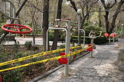 جانب من حديقة أغلقتها السلطات في طهران بسبب انتشار فيروس كورونا المستجد