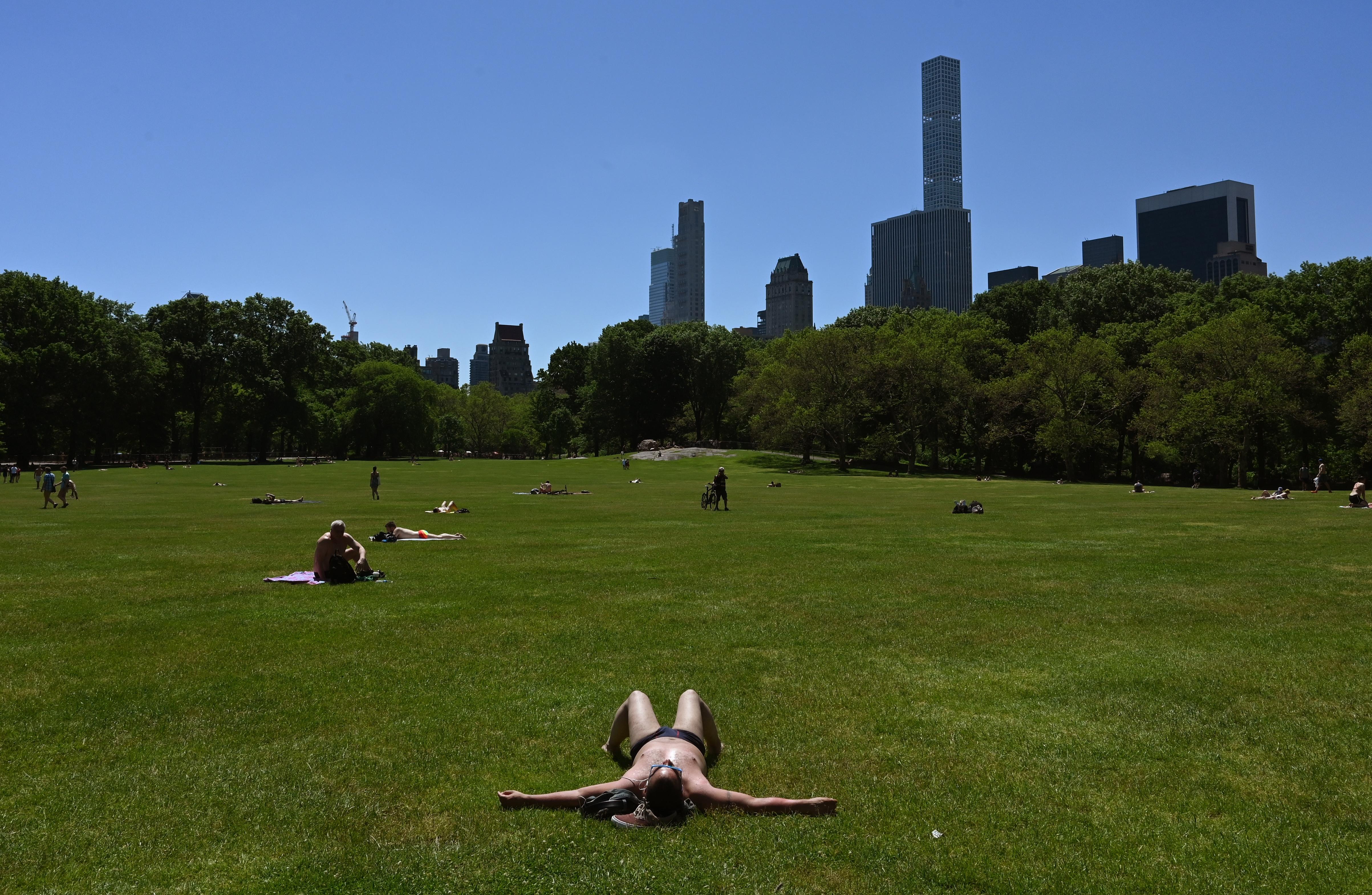 """رجل يفترش أرض حديقة """"سنترال بارك"""" في نيويورك مستغلا اتفاع درجات الحرارة في المنطقة خلال العطلة الممتدة حتى يوم الإثنين"""
