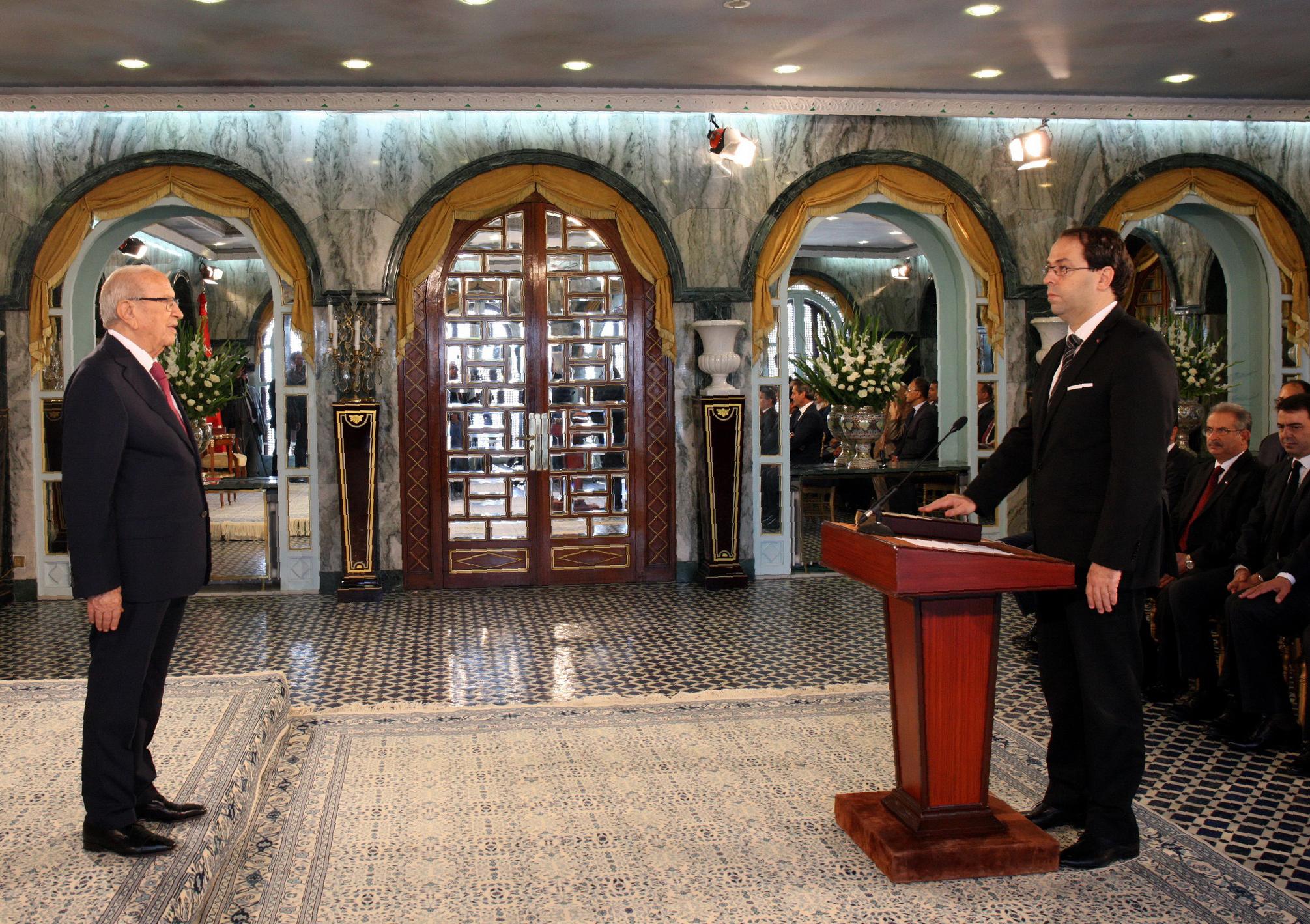 يوسف الشاهد يؤدي اليمين الدستوري أمام الرئيس باجي قايد السبسي - أرشيف
