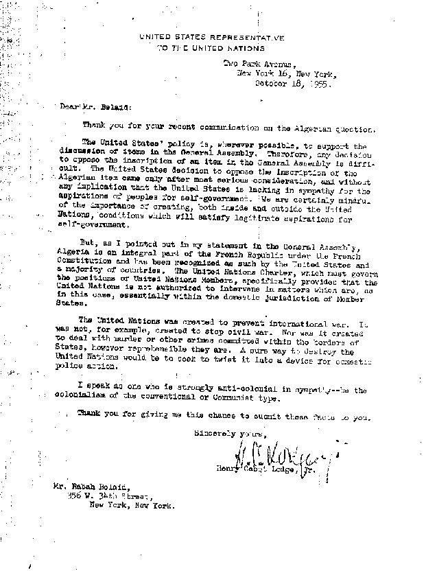 نص إجابة المندوب الأميركي في الأمم المتحدة على رسالة بلعيد لأيزنهاور- أرشيف الدكتور رابح بلعيد