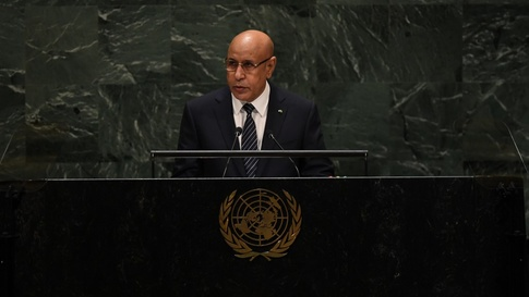 President of Mauritania Mohamed Ould Cheikh El Ghazouani speaks during the 74th Session of the General Assembly at the United…