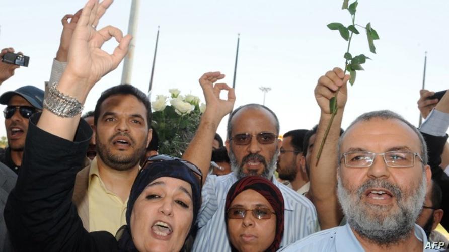 ابنة مؤسس جماعة العدل والإحسان، نادية ياسين، في احتجاج سابق للجماعة.