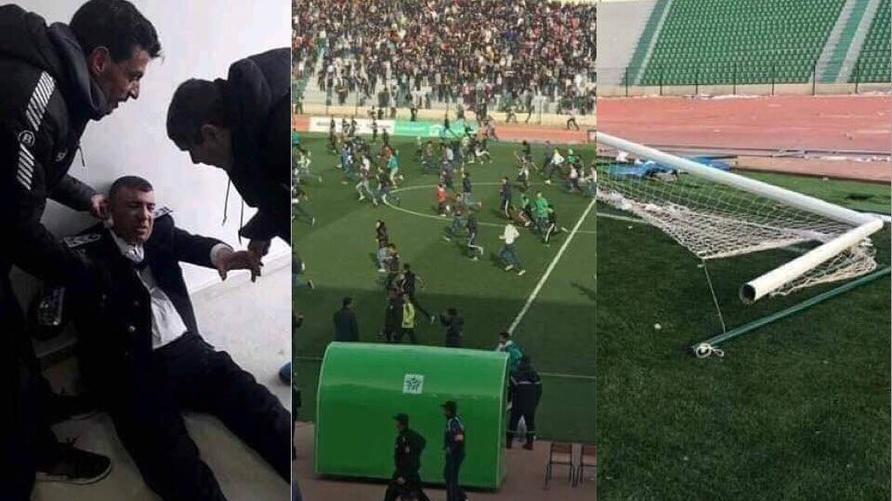 صورة مركبة لمشاهد شغب من مباراة وجدة وبركان