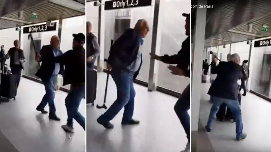 الجنرال نزار لحظة ضربه الشاب الجزائري في مطار اورلي بفرنسا