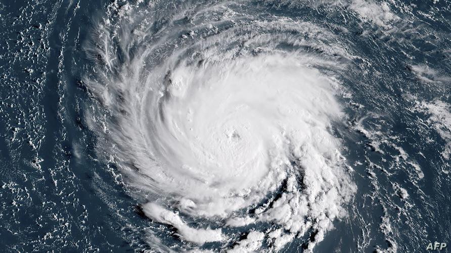 صورة بالأقمار الاصطناعية لاقتراب إعصار فلورانس من السواحل الشرقية للولايات المتحدة