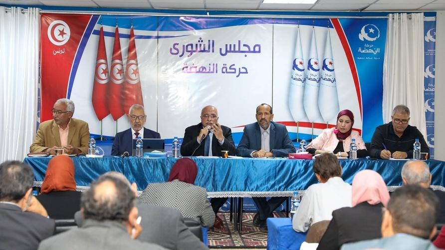 عبد الكريم هاروني متحدثا خلال اجتماع لمجلس شورى حركة النهضة