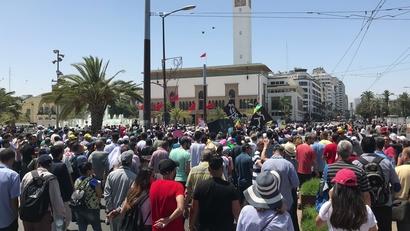 جانب من المسيرة المتضامنة مع معتقلي الريف