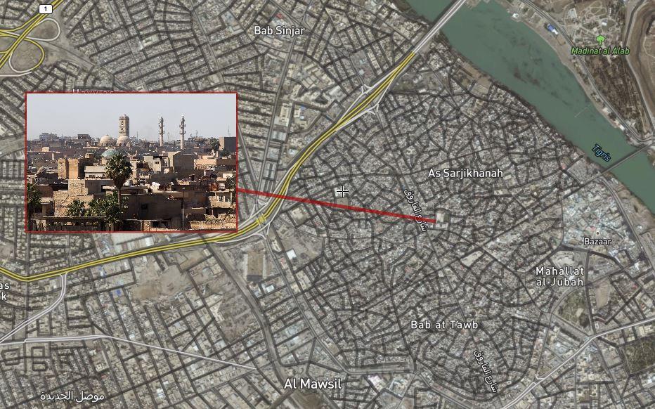 خريطة توضح موقع جامع النوري في الموصل