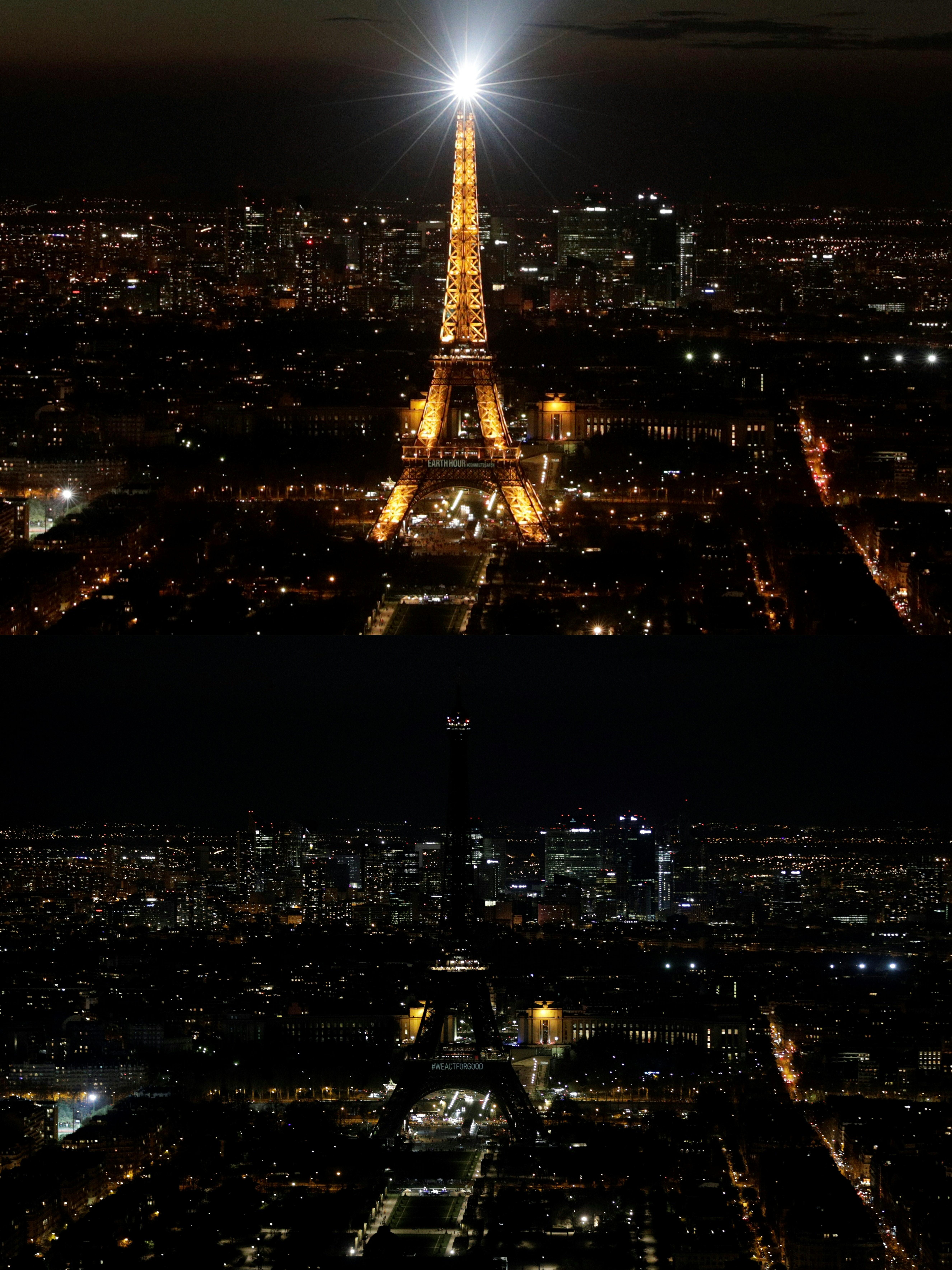 برج إيفل قبل وبعد إطفاء الأنوار خلال ساعة الأرض - 30 أذار/مارس 2019