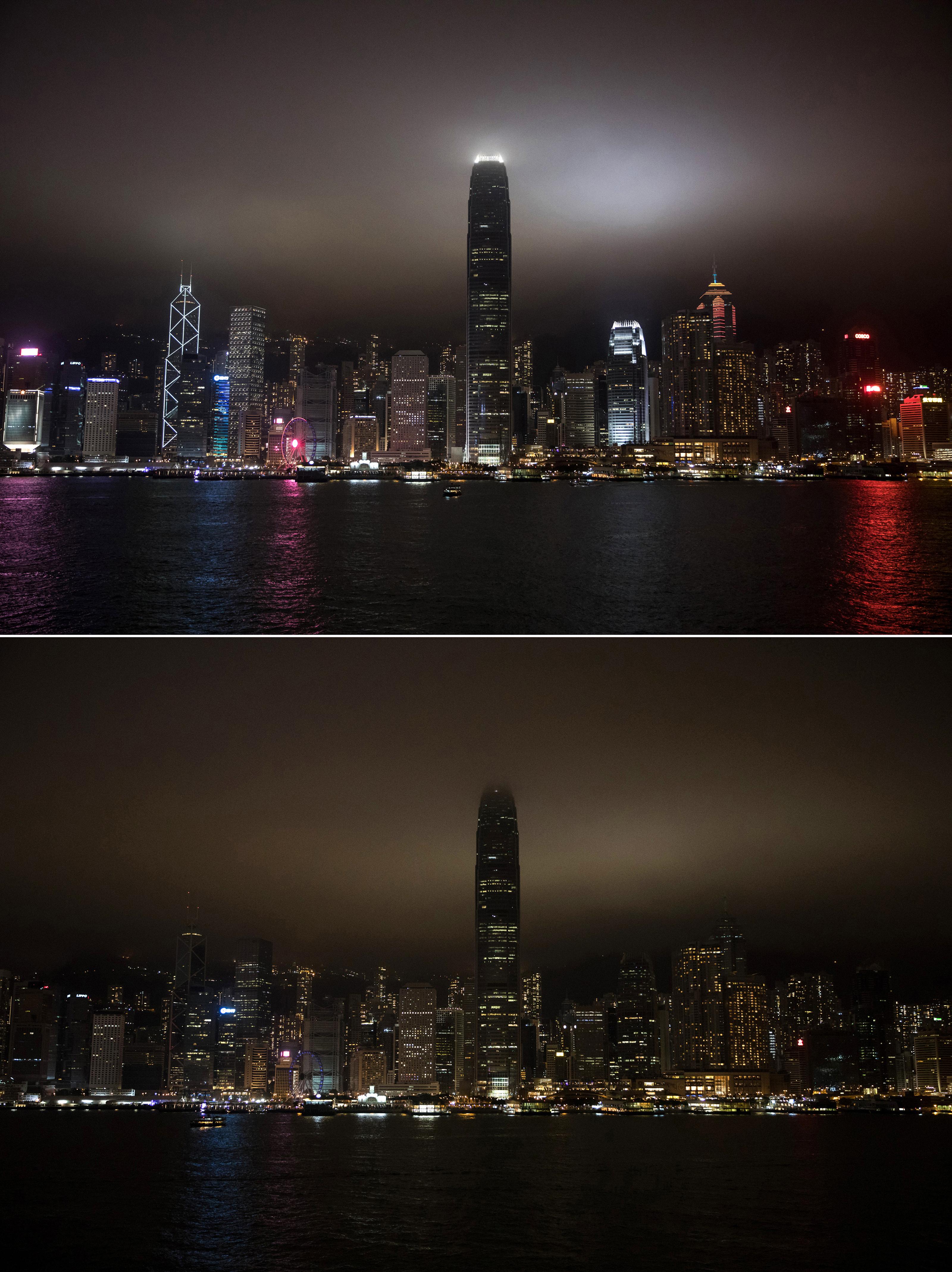 شاطئ جزيرة هونغ كونغ خلال ساعة الأرض - 30 أذار/مارس 2019