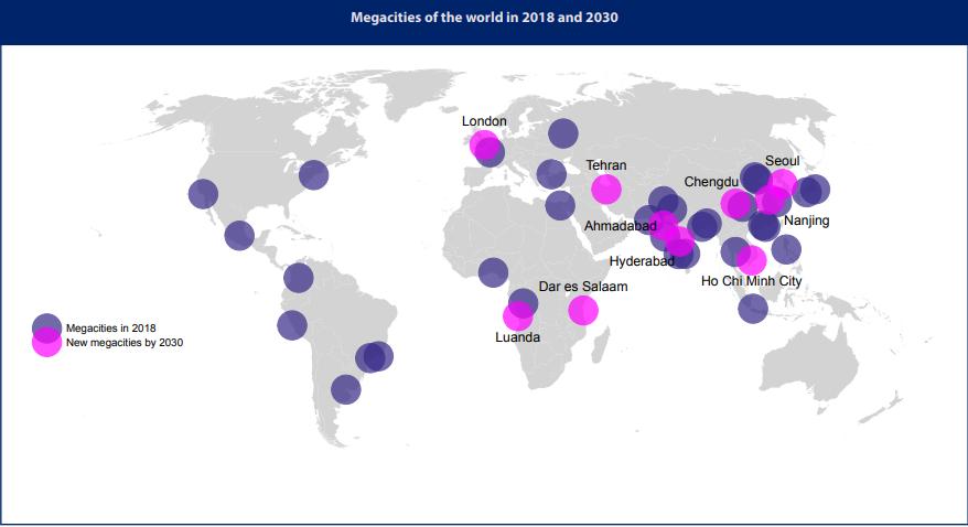 خارطة المدن الضخمة الجديدة- الصورة من الأمم المتحدة