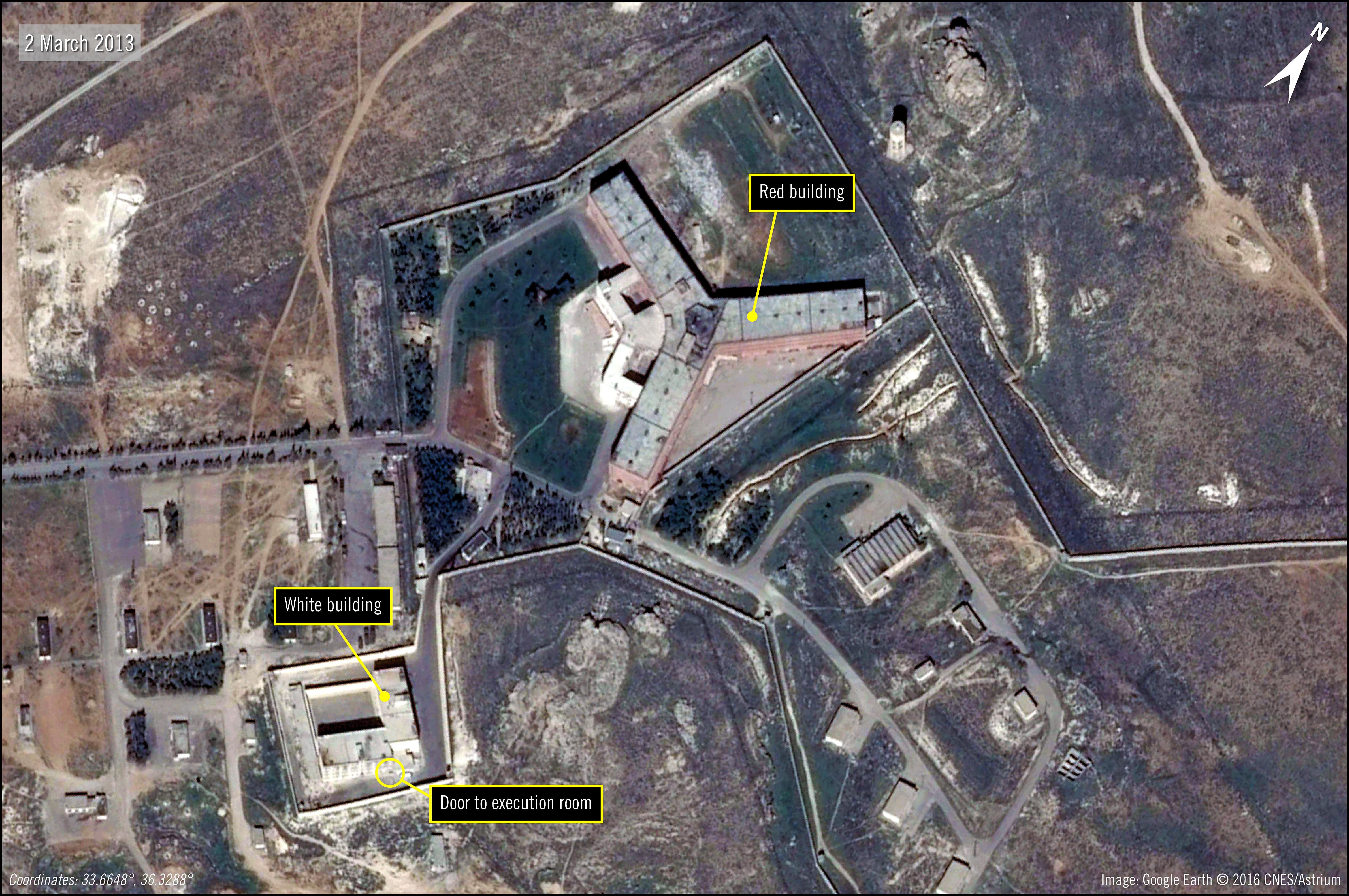 صورة بالأقمار الاصطناعية لسجن صيدنايا أحد أكبر مراكز الاعتقال في سوريا