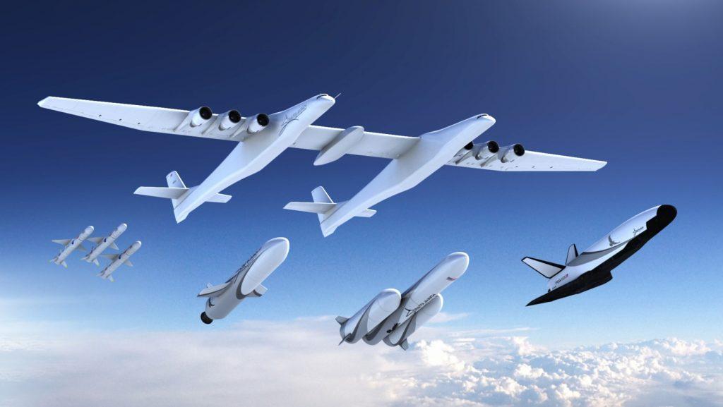 يمكن استخدام الطائرة كمنصة لإطلاق مركبات الفضاء . تعبيرية