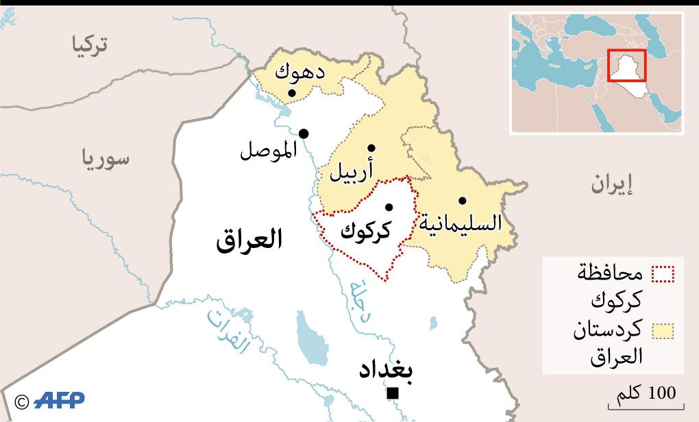 رسم يوضح موقع محافظة كركوك على خارطة العراق
