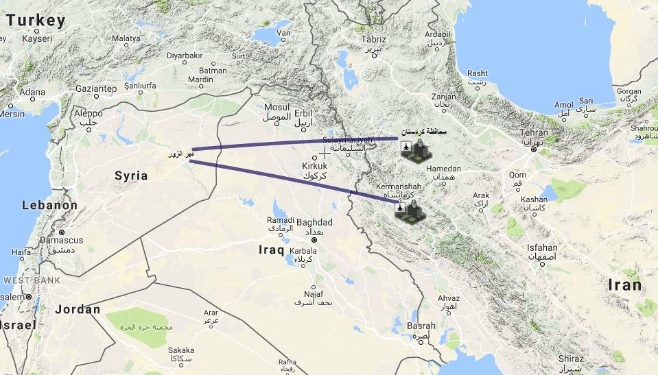 أماكن انطلاق الصواريخ الإيرانية باتجاه سورية