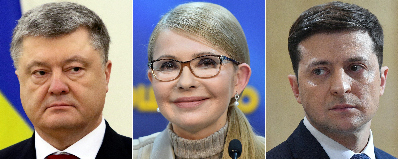 مرشحو الرئاسة الأوكرانية (من اليسار إلى اليمين): بترو بوروشنكو - يوليا تيموشينكو - فولوديمير زلنسكي