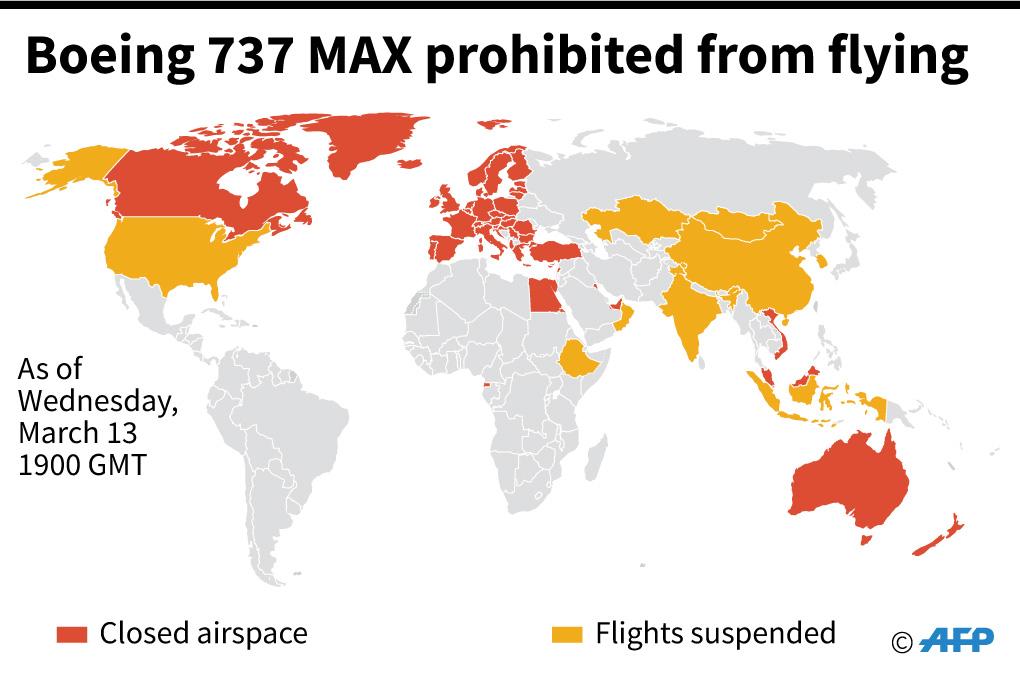 خارطة تبين الدول التي تحظر أو تعلق استخدام طائرات بوينغ 737