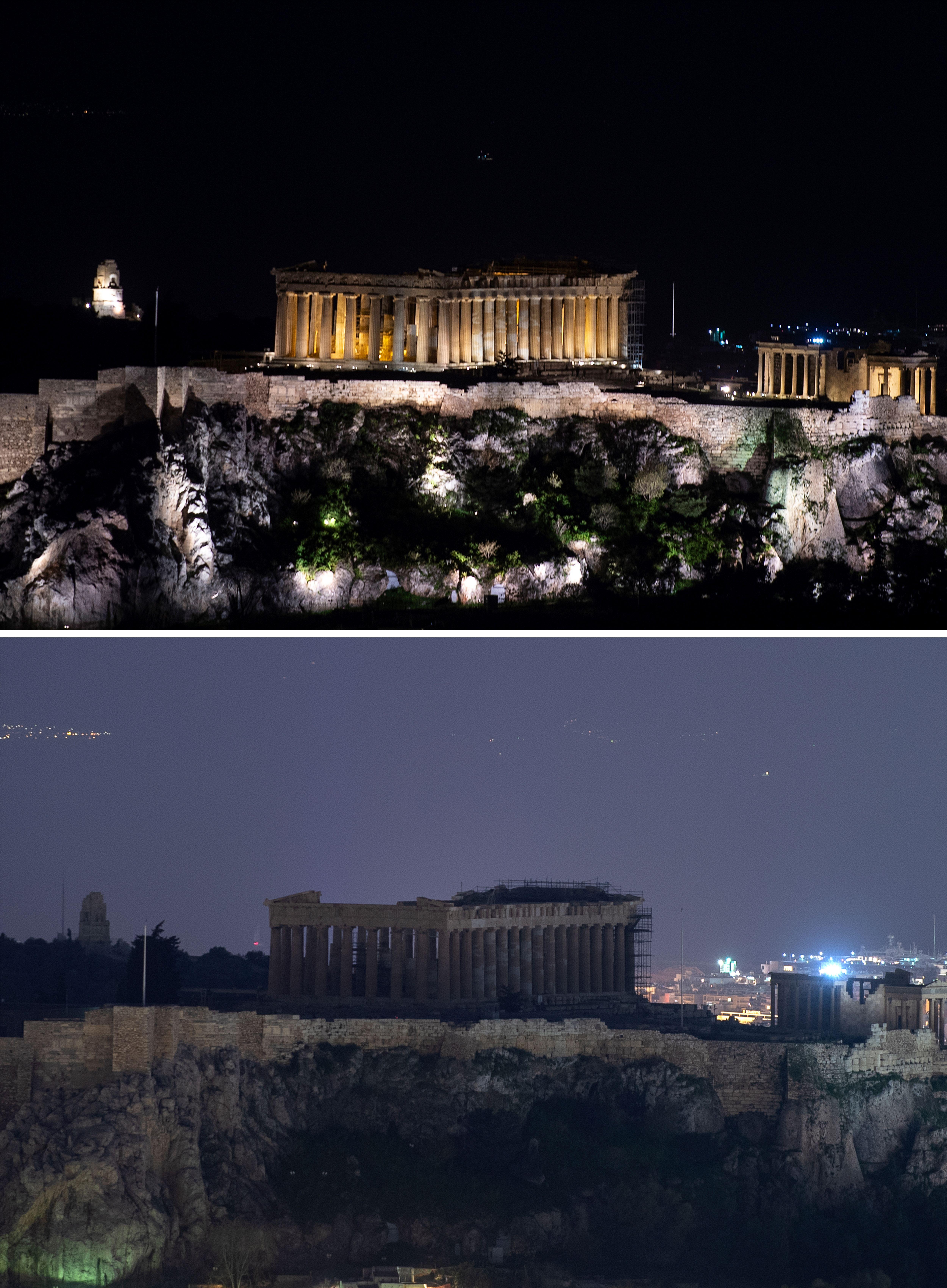 معبد بارثينون بالعاصمة اليونانية أثينا خلال ساعة الأرض - 30 أذار/مارس 2019