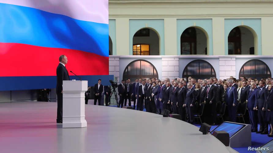 الرئيس الروسي فلاديمير بوتين في الحديث السنوي للأمة