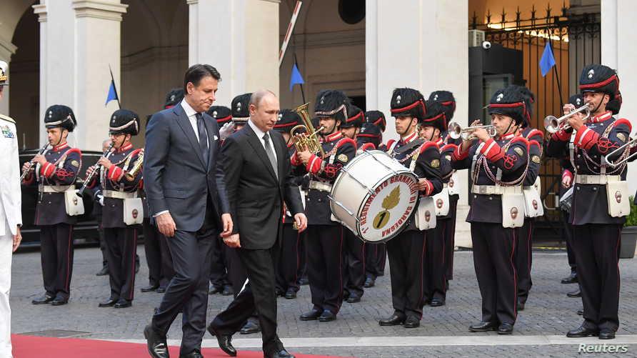 رئيس وزراء إيطاليا يستقبل الرئيس الروسي