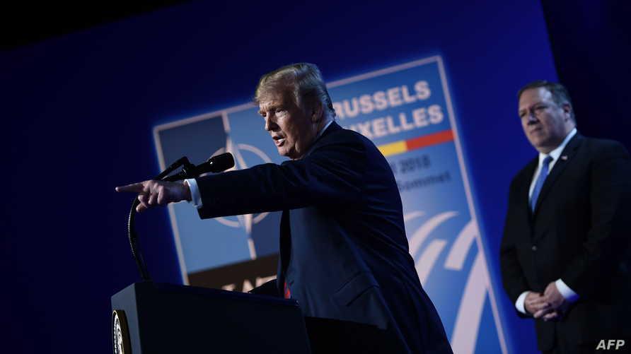 الرئيس دونالد ترامب خلال المؤتمر الصحافي على هامش قمة الناتو في بروكسل