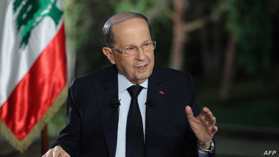 الرئيس اللبناني ميشال عون خلال مقابلة تلفزيونية الثلاثاء