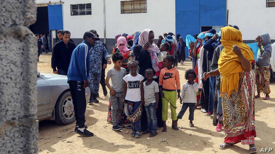 من أحد مراكز احتجاز المهاجرين في ليبيا. أرشيفية