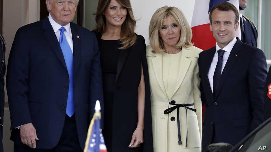 الرئيس ترامب والسيدة الأولى ميلانيا خلال استقبال ماكرون وزوجته في البيت الأبيض