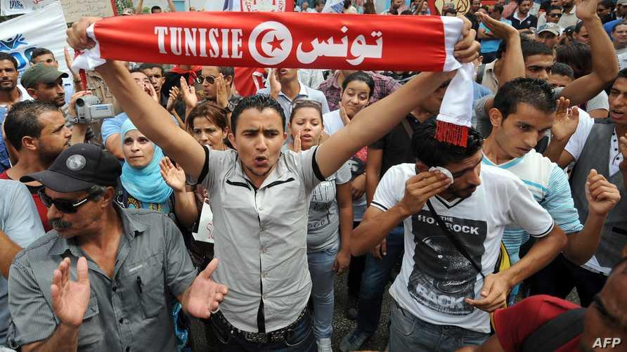 تظاهرة لشباب في تونس ضد البطالة