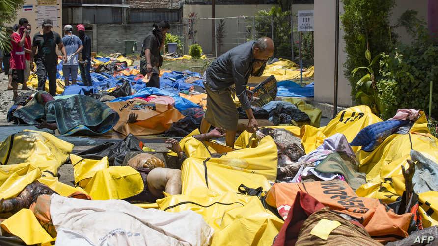 أشخاص يبحثون عن جثث أقاربهم الذين قضوا جراء الزلزال والتسونامي في إندونيسيا
