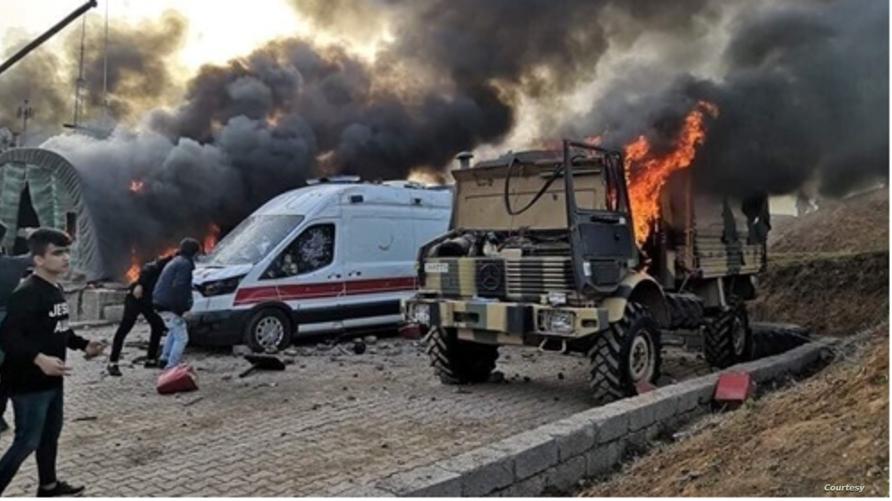 صورة تداولتها وسائل إعلام عراقية للهجوم على الثكنة التركية شمالي العراق