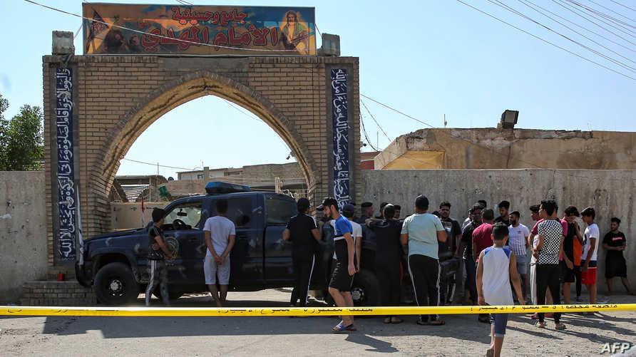 قوات أمن عراقية عند مدخل حسينية الإمام المنتظر