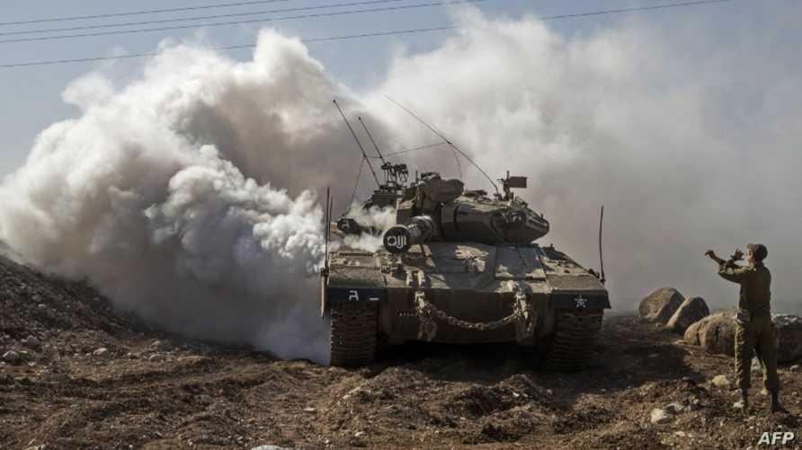 دبابة إسرائيلية قرب الحدود مع سورية