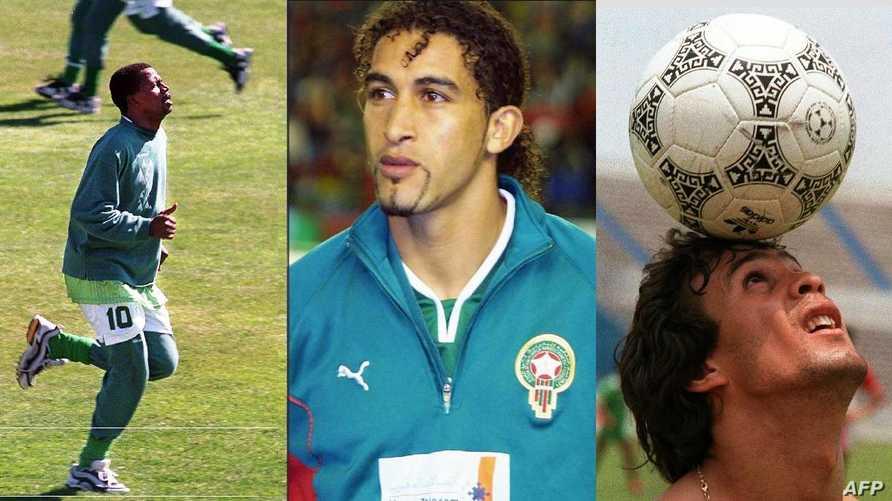 صورة تركيبية للاعبي كرة القدم: رابح ماجر، مصطفى حجي، سعد العويران