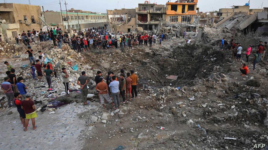 جانب من التفجير الذي استهدف مخزنا لصناديق الاقتراع في كركوك