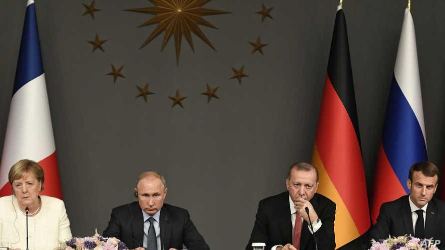 قادة فرنسا وتركيا وروسيا وألمانيا