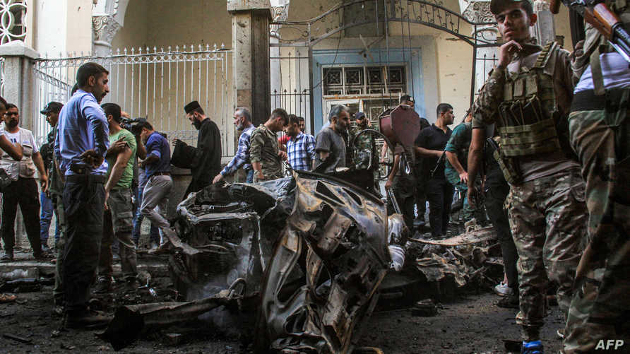 انفجار سيارة مفخخة أمام بوابة كنيسة في مدينة القامشلي ذات الغالبية الكردية في شمال شرق سوريا